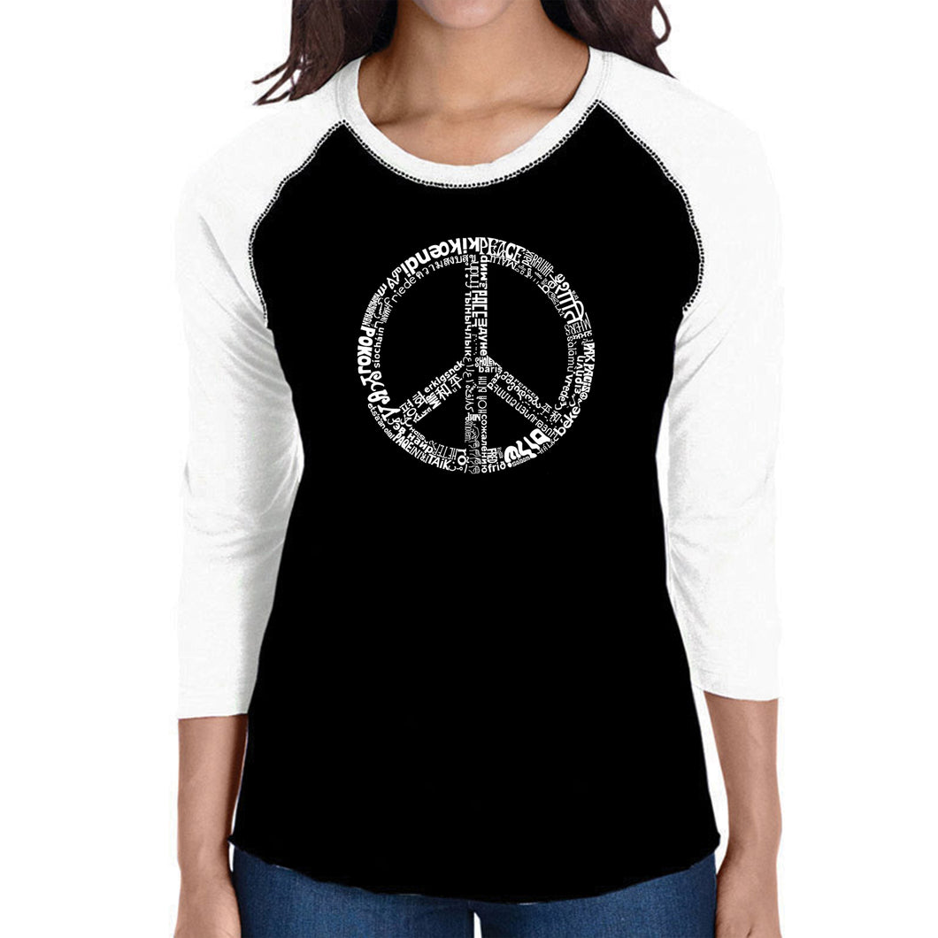 LA Pop Art Women's Raglan Baseball Word Art T-shirt - THE WORD PEACE IN 77 LANGUAGES