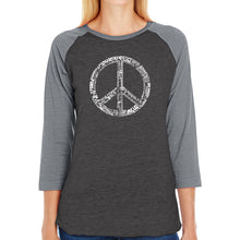 Load image into Gallery viewer, LA Pop Art Women's Raglan Baseball Word Art T-shirt - THE WORD PEACE IN 77 LANGUAGES