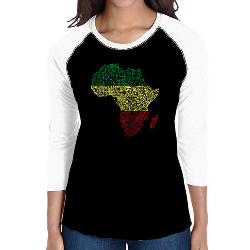 LA Pop Art Women's Raglan Baseball Word Art T-shirt - Countries in Africa