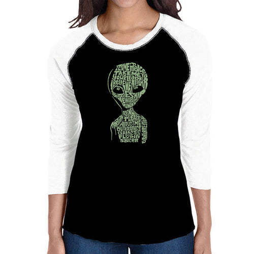 LA Pop Art Women's Raglan Baseball Word Art T-shirt - Alien