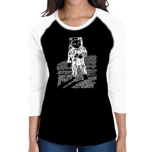 LA Pop Art Women's Raglan Baseball Word Art T-shirt - ASTRONAUT