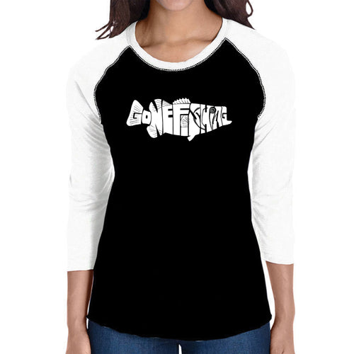 LA Pop Art Women's Raglan Baseball Word Art T-shirt - Bass - Gone Fishing