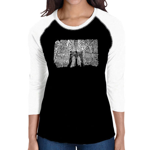 LA Pop Art Women's Raglan Baseball Word Art T-shirt - Brooklyn Bridge