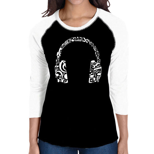 LA Pop Art Women's Raglan Baseball Word Art T-shirt - Music Note Headphones