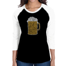Load image into Gallery viewer, LA Pop Art Women's Raglan Baseball Word Art T-shirt - Slang Terms for Being Wasted