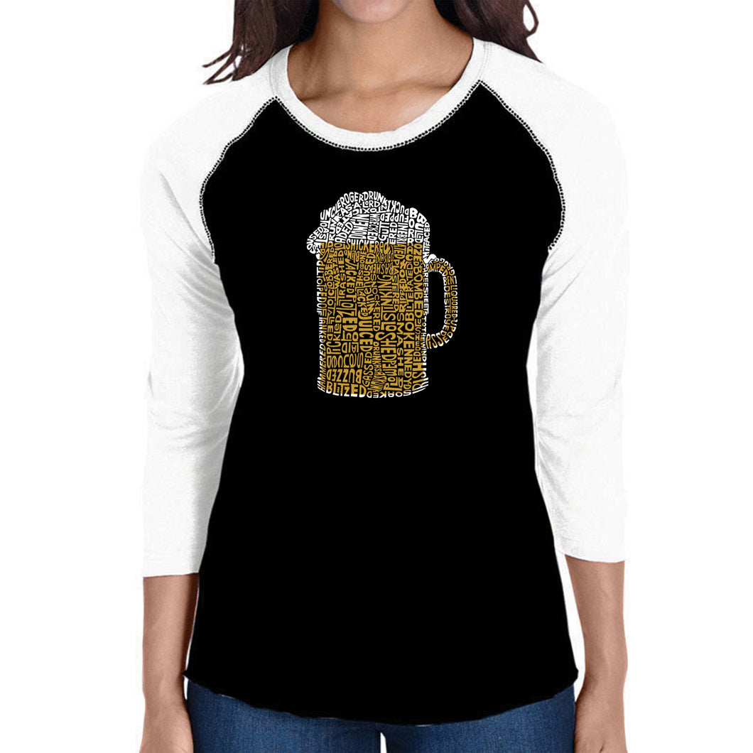 LA Pop Art Women's Raglan Baseball Word Art T-shirt - Slang Terms for Being Wasted