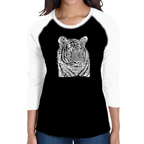 LA Pop Art Women's Raglan Baseball Word Art T-shirt - Big Cats