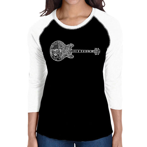 LA Pop Art Women's Raglan Baseball Word Art T-shirt - Blues Legends
