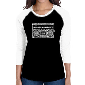 LA Pop Art Women's Raglan Baseball Word Art T-shirt - Greatest Rap Hits of The 1980's