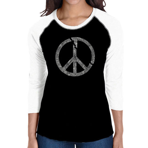 LA Pop Art Women's Raglan Baseball Word Art T-shirt - EVERY MAJOR WORLD CONFLICT SINCE 1770
