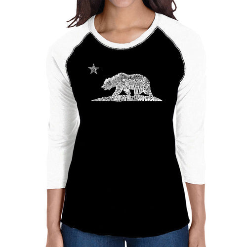 LA Pop Art Women's Raglan Baseball Word Art T-shirt - California Bear