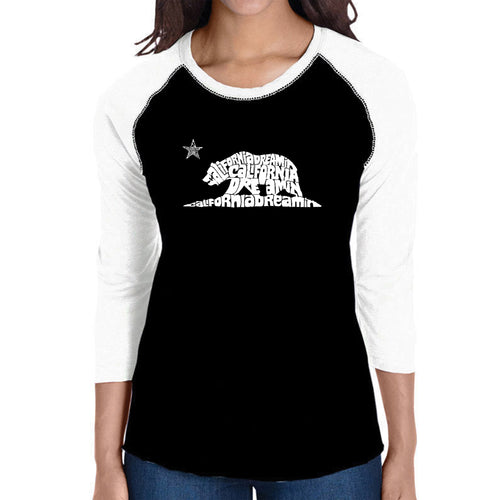 LA Pop Art Women's Raglan Baseball Word Art T-shirt - California Dreamin