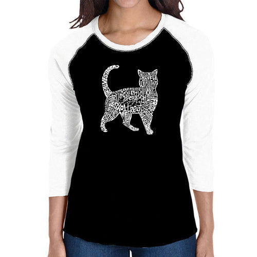 LA Pop Art Women's Raglan Baseball Word Art T-shirt - Cat
