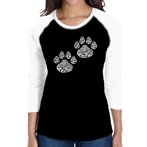 LA Pop Art Women's Raglan Baseball Word Art T-shirt - Cat Mom