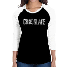 Load image into Gallery viewer, LA Pop Art Women's Raglan Baseball Word Art T-shirt - Different foods made with chocolate