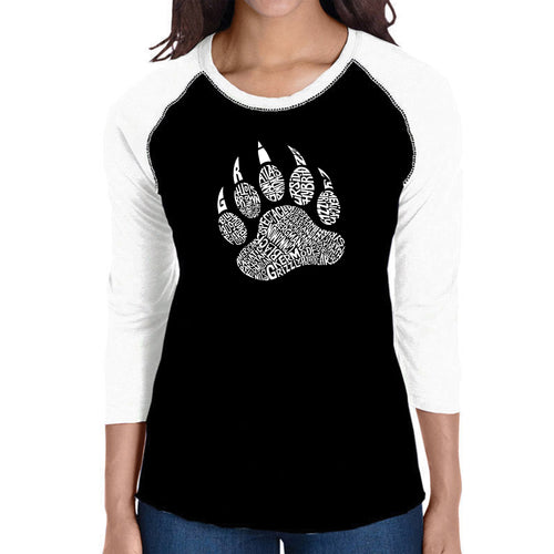 LA Pop Art Women's Raglan Baseball Word Art T-shirt - Types of Bears