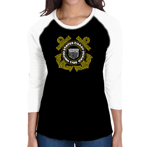 LA Pop Art Women's Raglan Baseball Word Art T-shirt - Coast Guard