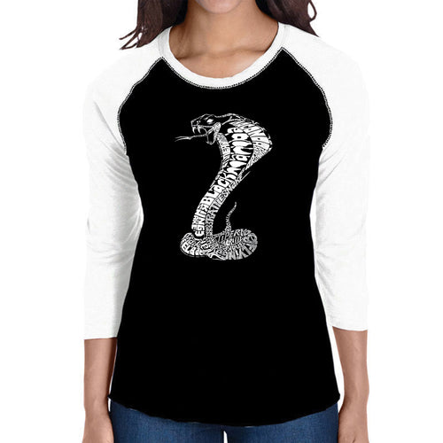 LA Pop Art Women's Raglan Baseball Word Art T-shirt - Types of Snakes