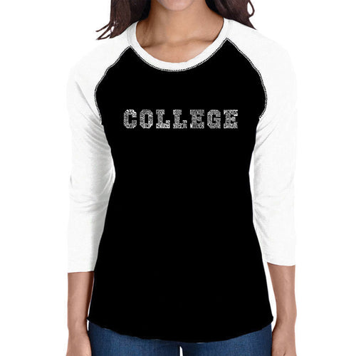 LA Pop Art Women's Raglan Baseball Word Art T-shirt - COLLEGE DRINKING GAMES
