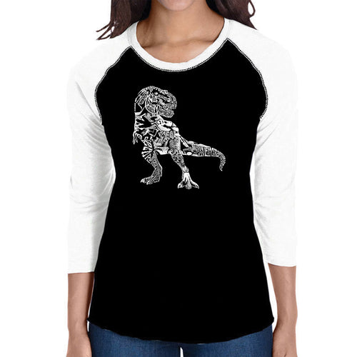 LA Pop Art Women's Raglan Baseball Word Art T-shirt - Dino Pics