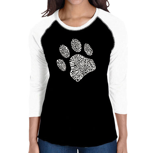 LA Pop Art Women's Raglan Baseball Word Art T-shirt - Dog Paw