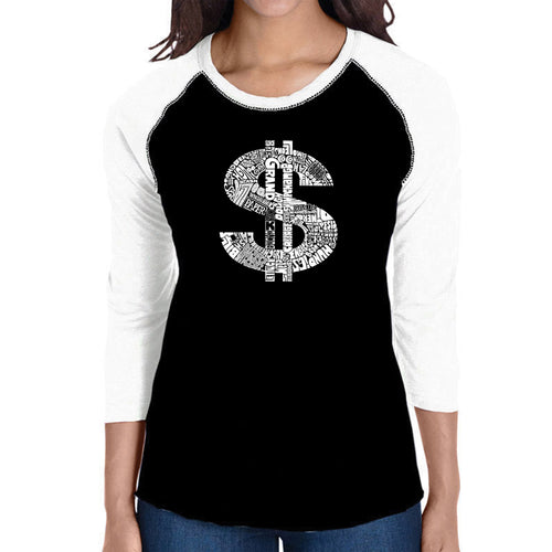 LA Pop Art Women's Raglan Baseball Word Art T-shirt - Dollar Sign