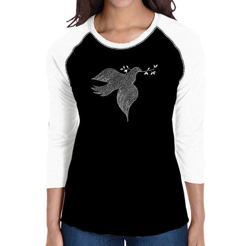 LA Pop Art Women's Raglan Baseball Word Art T-shirt - Dove