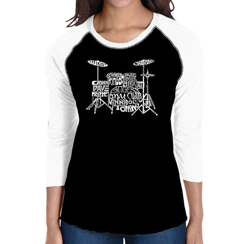 LA Pop Art Women's Raglan Baseball Word Art T-shirt - Drums