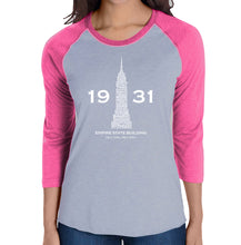 Load image into Gallery viewer, LA Pop Art Women's Raglan Baseball Word Art T-shirt - Empire State Building