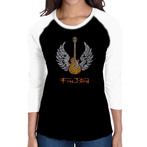 LA Pop Art Women's Raglan Baseball Word Art T-shirt - LYRICS TO FREE BIRD