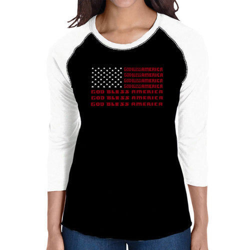 LA Pop Art Women's Raglan Baseball Word Art T-shirt - God Bless America