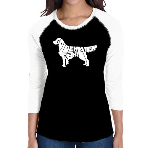 LA Pop Art Women's Raglan Baseball Word Art T-shirt - Golden Retreiver