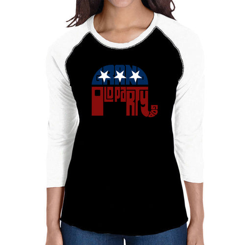 LA Pop Art Women's Raglan Baseball Word Art T-shirt - REPUBLICAN - GRAND OLD PARTY