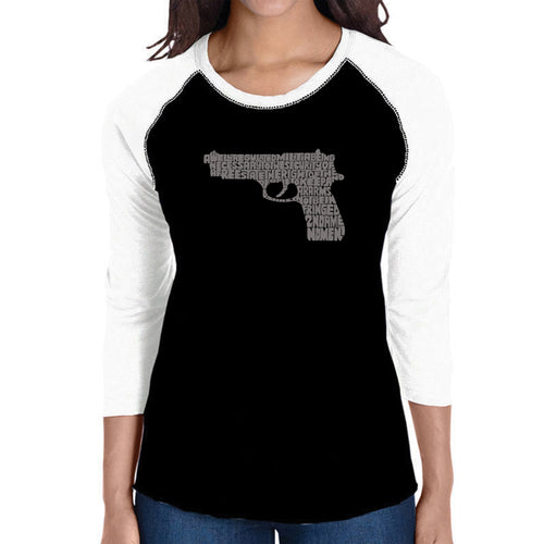 LA Pop Art Women's Raglan Baseball Word Art T-shirt - RIGHT TO BEAR ARMS
