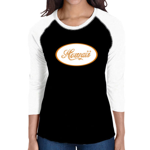 LA Pop Art Women's Raglan Baseball Word Art T-shirt - HAWAIIAN ISLAND NAMES & IMAGERY