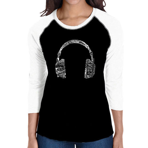 LA Pop Art Women's Raglan Baseball Word Art T-shirt - HEADPHONES - LANGUAGES