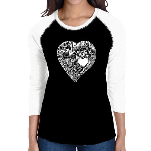 LA Pop Art Women's Raglan Baseball Word Art T-shirt - LOVE IN 44 DIFFERENT LANGUAGES
