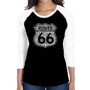 LA Pop Art Women's Raglan Baseball Word Art T-shirt - Life is a Highway