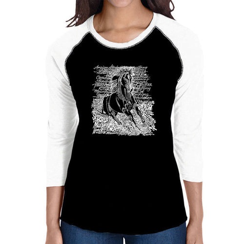 LA Pop Art Women's Raglan Baseball Word Art T-shirt - POPULAR HORSE BREEDS
