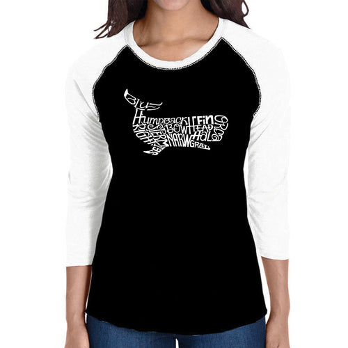 LA Pop Art Women's Raglan Baseball Word Art T-shirt - Humpback Whale
