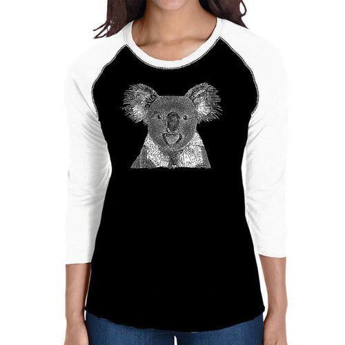 LA Pop Art Women's Raglan Baseball Word Art T-shirt - Koala