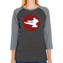 Load image into Gallery viewer, LA Pop Art Women's Raglan Baseball Word Art T-shirt - Types of Martial Arts
