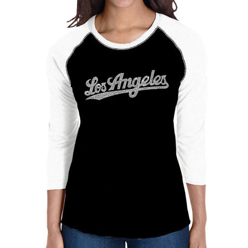 LA Pop Art Women's Raglan Baseball Word Art T-shirt - LOS ANGELES NEIGHBORHOODS
