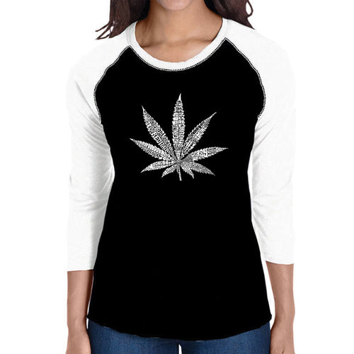 LA Pop Art Women's Raglan Baseball Word Art T-shirt - 50 DIFFERENT STREET TERMS FOR MARIJUANA