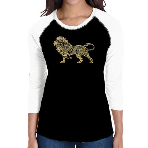 LA Pop Art Women's Raglan Baseball Word Art T-shirt - Lion