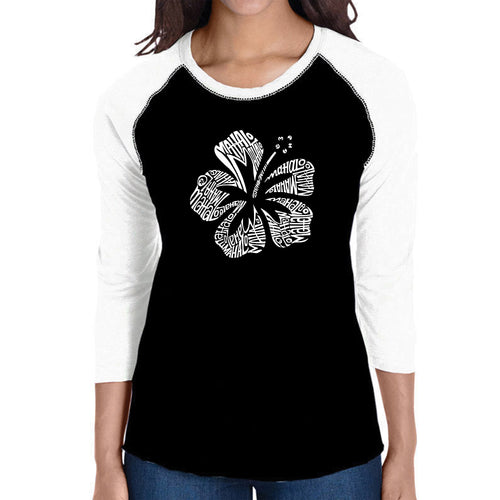 LA Pop Art Women's Raglan Baseball Word Art T-shirt - Mahalo