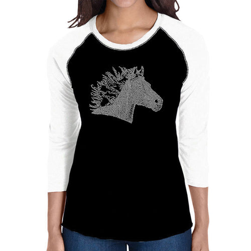 LA Pop Art Women's Raglan Baseball Word Art T-shirt - Horse Mane