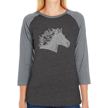 Load image into Gallery viewer, LA Pop Art Women's Raglan Baseball Word Art T-shirt - Horse Mane