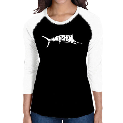 LA Pop Art Women's Raglan Baseball Word Art T-shirt - Marlin - Gone Fishing