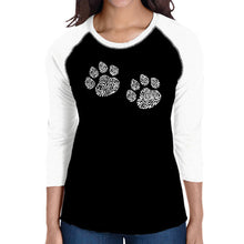 Load image into Gallery viewer, LA Pop Art Women's Raglan Baseball Word Art T-shirt - Meow Cat Prints